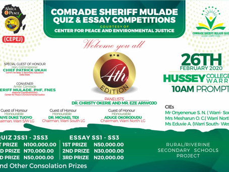 4th Edition of Comrade Mulade Sheriff (Rural/Riverine Quiz & Essay Competition) in the 3 Warri .....