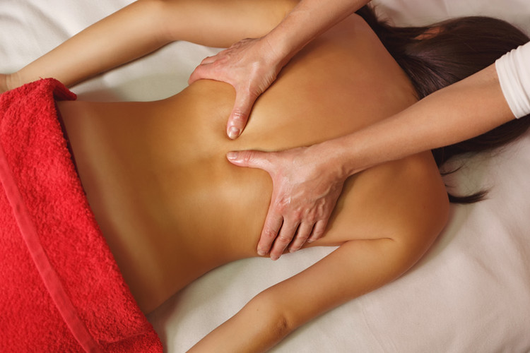Spa treatment. Back massage. Massage zon