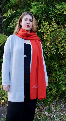 Mod.108. BROAD SCARF with pocket and poetry in 100% COTTON.