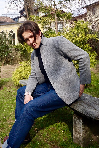 Mod.078TC. JACKET in 70%CASHMERE-30% SILK, NATURAL COLOR.