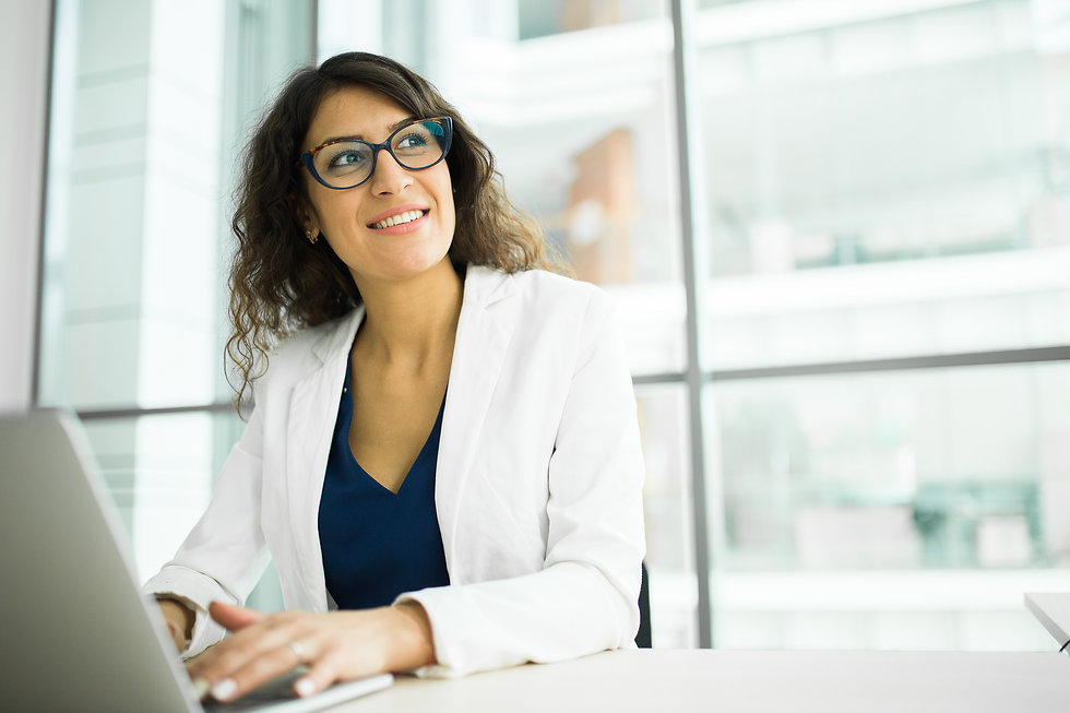 young Caucasian woman smiling business w