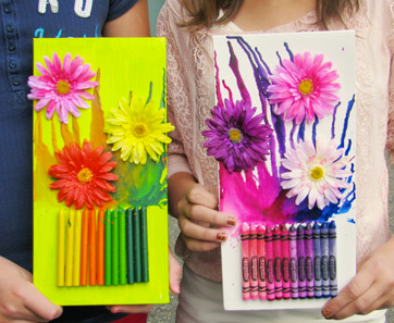 Melting Crayon Spring Flowers Art