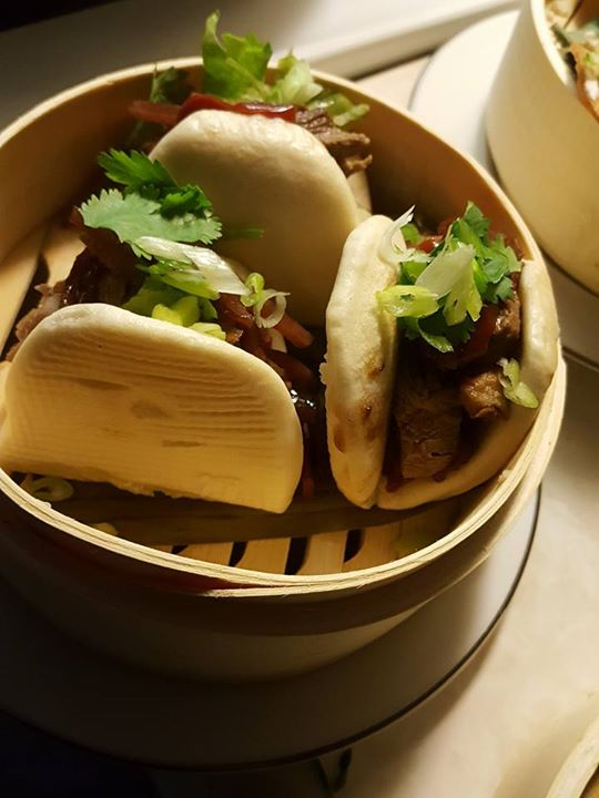 Duck buns with jicama slaw