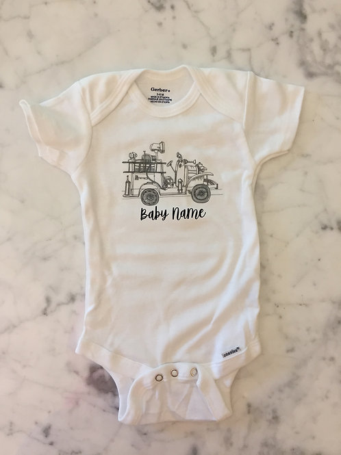 Personalized Old Time Firetruck Onesie®