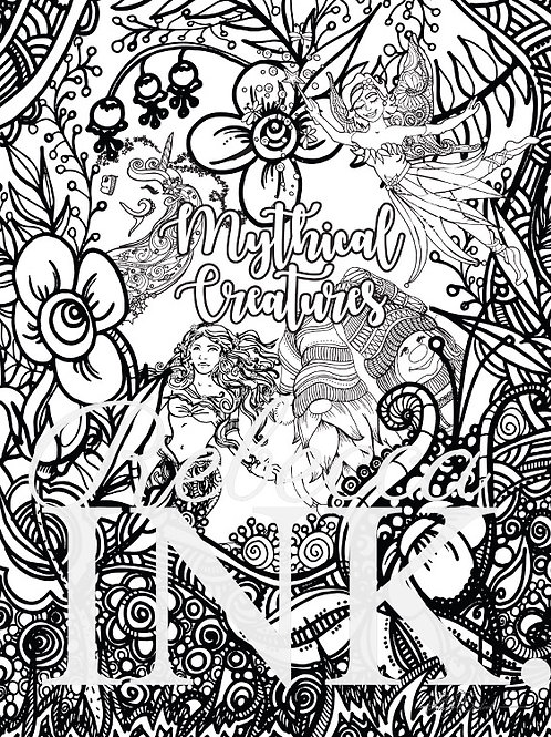 Mythical Creatures Coloring Page Set