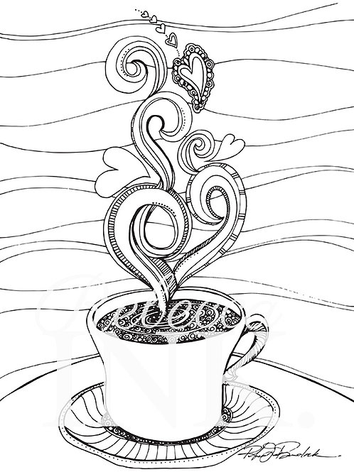 Hot Coffee Coloring Page Set