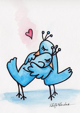 Illustration of bluebirds hugging.