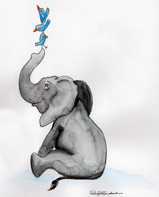 Illustration of a baby elephant with bluebirds on his trunk.