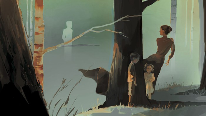 Illustration of a women peering across a lake at a ghost, while two children stand behind a tree, unaware.