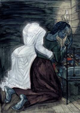 A bodiless while dress form holds a crying woman, kneeling on a bed