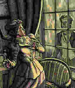 Illustration of a women in shock at a ghost outside of a window