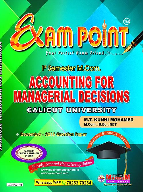 1st Sem ACCOUNTING FOR MANAGERIAL DECISION (M.Com Calicut University)