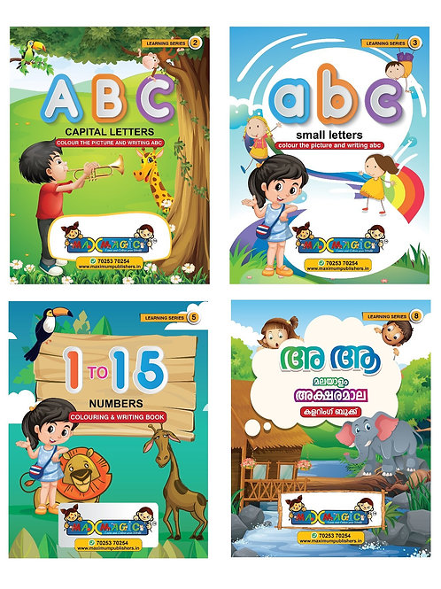 ABC Capital & Small Letters , 1 To 15 Numbers ,Malayalam Alphabets  (Combo Pack)