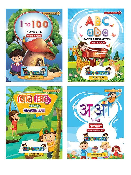 1-100 ,ABC Capital & Small Letters, Malayalam & Hindi aLPHABETS (Combo Pack)