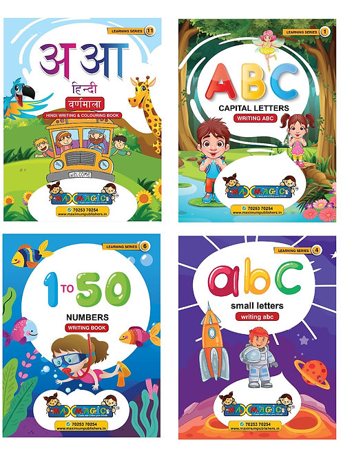 Hindi Alphabets, ABC Capital & Small Letters ,1 To 50 Numbers  (Combo Pack)