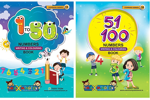 Numbers Writing & Colouring book For Kids (Combo Pack) 1-100
