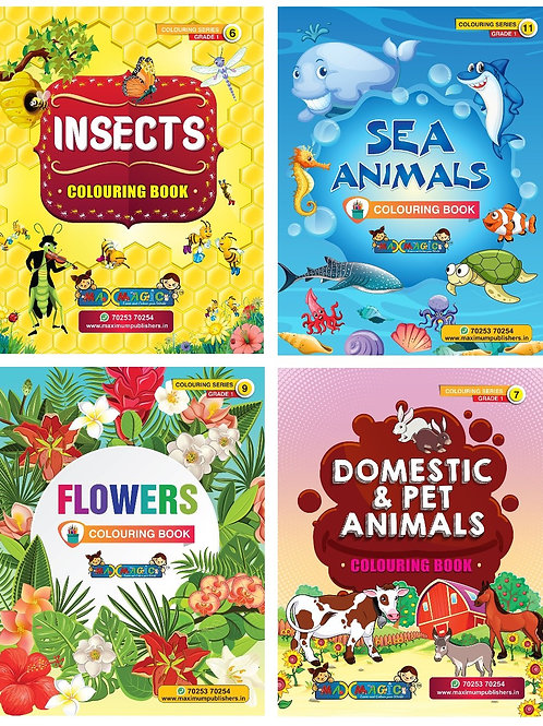 Insects , Sea Animals , Flowers , Domestic & Pet Animals (Combo Pack)