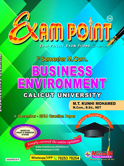 First Semester Business Enviornment for Calicut University M.Com Students