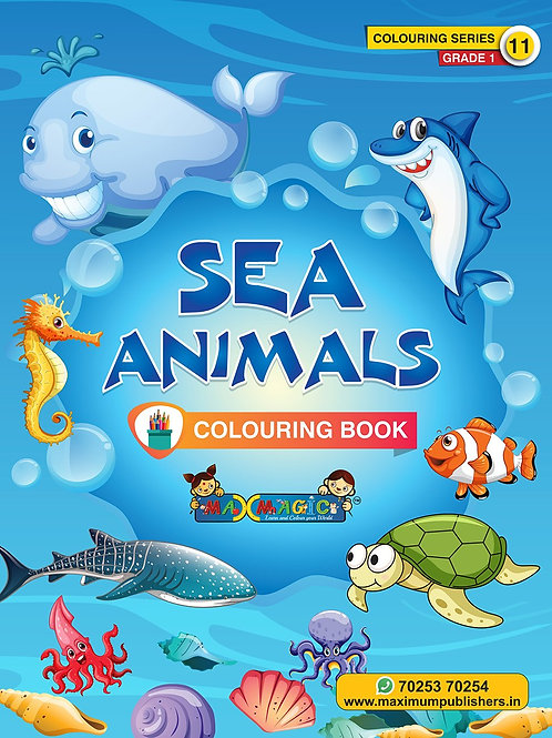 Sea Animals Colouring Book (with description) For PRE-KG, LKG ,UKG Kids