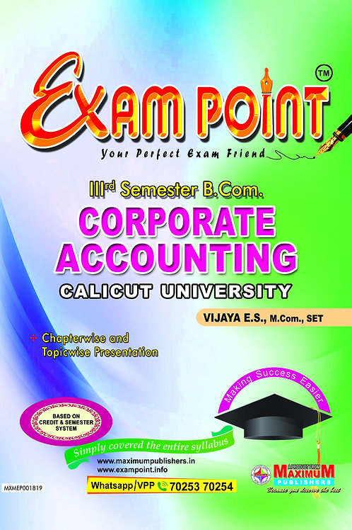 Third Semester Corporate Accounting  for Calicut University B.Com Students