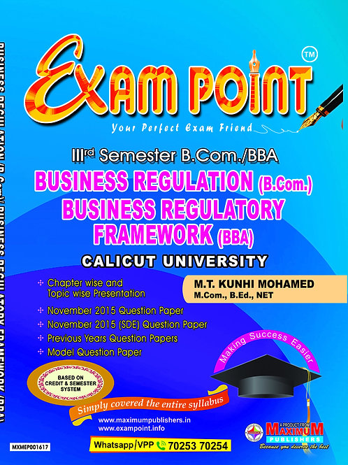 3rd Sem BUSINESS REGULATION (B.Com) BUSINESS REGULATORY FRAMEWORK(BBA)A