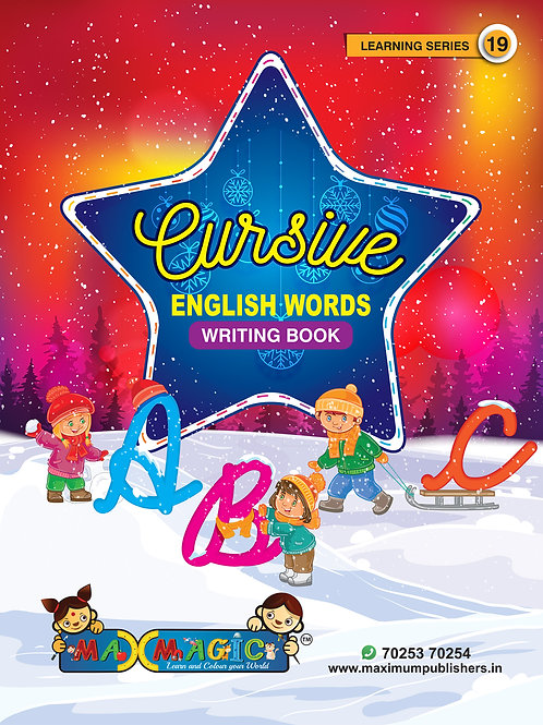 Cursive English Words Writing Book for kids