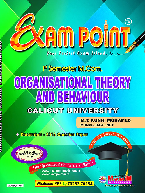 1st Sem ORGANISATIONAL THEORY & BEHAVIOUR (M.Com Calicut University)