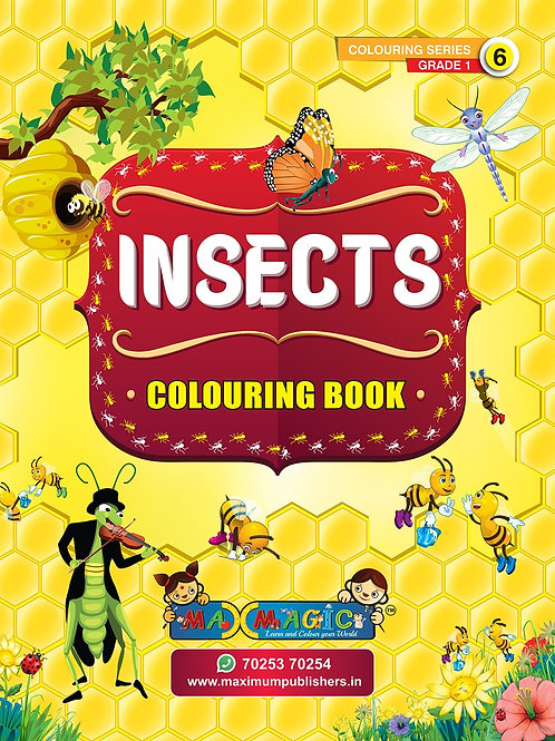 Insects Colouring Book (with description) For PRE-KG, LKG ,UKG Kids