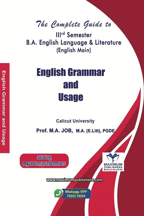 ENGLISH GRAMMAR & USAGE 3rd Semester BA English Main