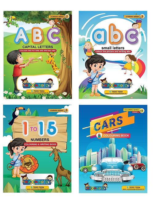 ABC Capital & Small Letters ,1 To 15 Numbers Writing & Cars (Combo Pack)