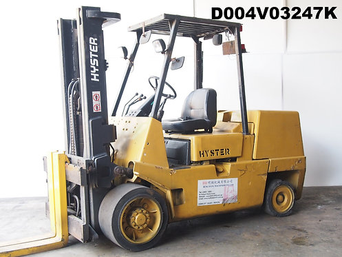 Yellow hyster forklift compact 5 ton front view