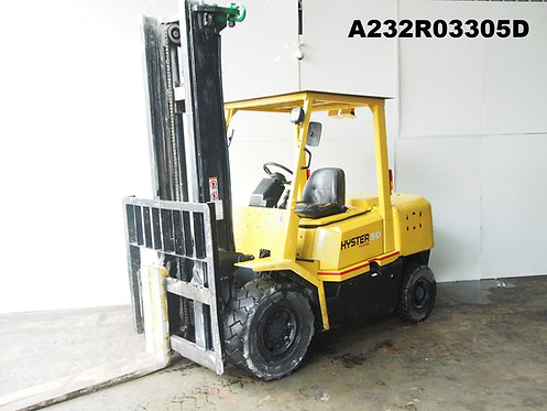 yellow hyster 4.5 ton forklift front view