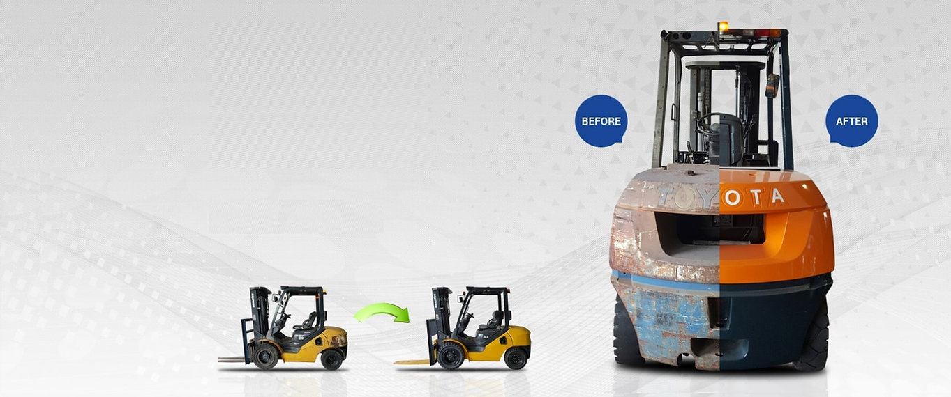 Used Forklift for sales in Singapore - Refurbished Komatsu and Toyota Forklift - Before and After