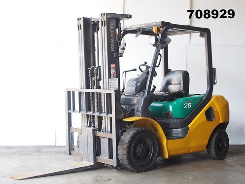Komatsu FD25-16, 2.5 ton forklift, container mast, side view