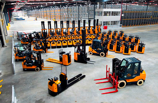 Many toy forklift on the floor