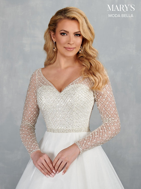 Mary's Dazzling Organza Wedding Gown with Long Sheer Sleeves