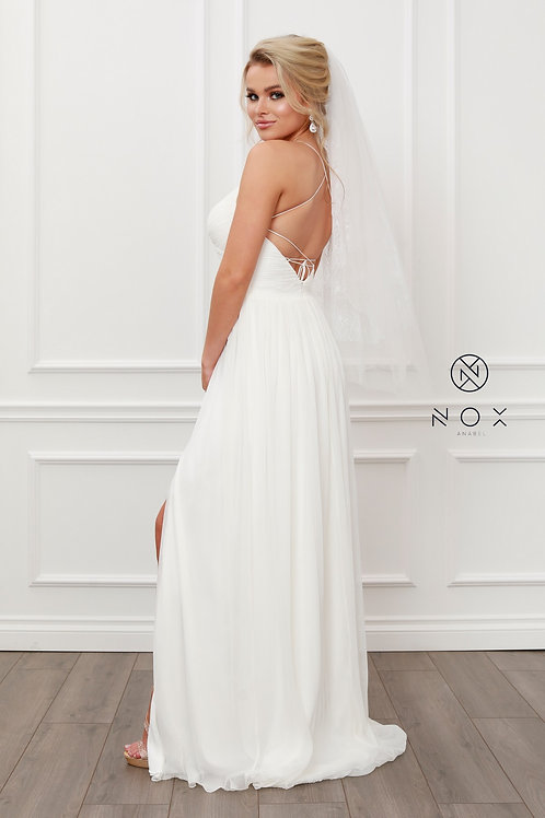 CLASSIC PLEATED V NECK A-LINE LONG GOWN WITH SIDE SLIT