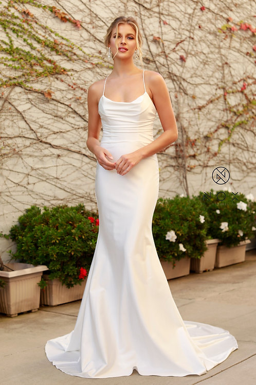BEAUTIFUL COWL NECK WITH SPAGHETTI STRAPS LONG MERMAID GOWN