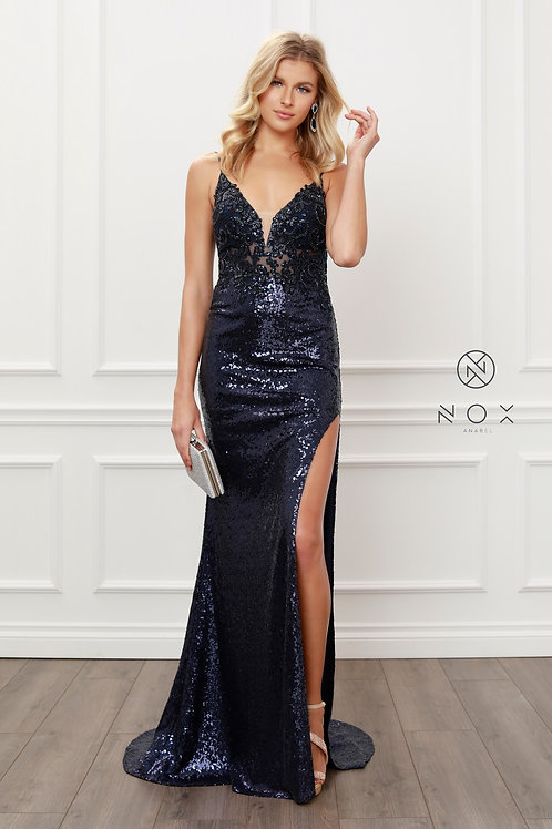 PLUNGING V NECK GLITTER MERMAID PARTY GOWN