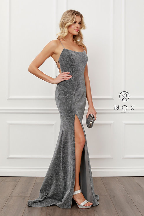 SPAGHETTI STRAPS SCOOP NECK GLITTERY LONG GOWN