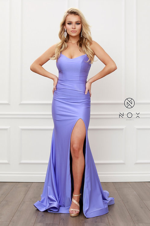 GORGEOUS SCOOP NECK WITH SPAGHETTI STRAPS FITTED GOWN