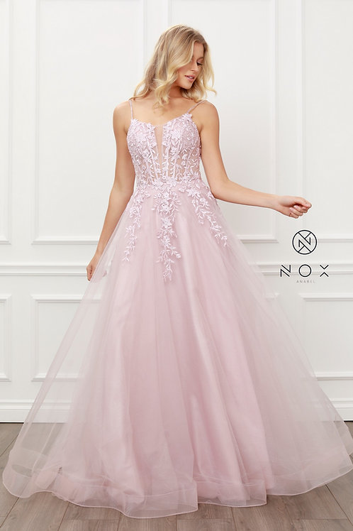 FLORAL EMBELLISHED BEADS BODICE A LINE GOWN