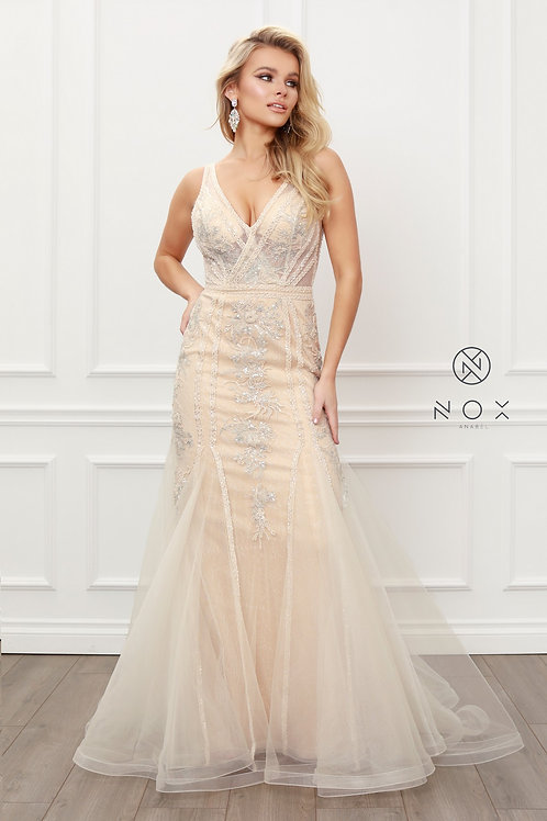 SLEEVELESS V NECK SEQUIN EMBELLISH LACE APPLIQUES MERMAID GOWN