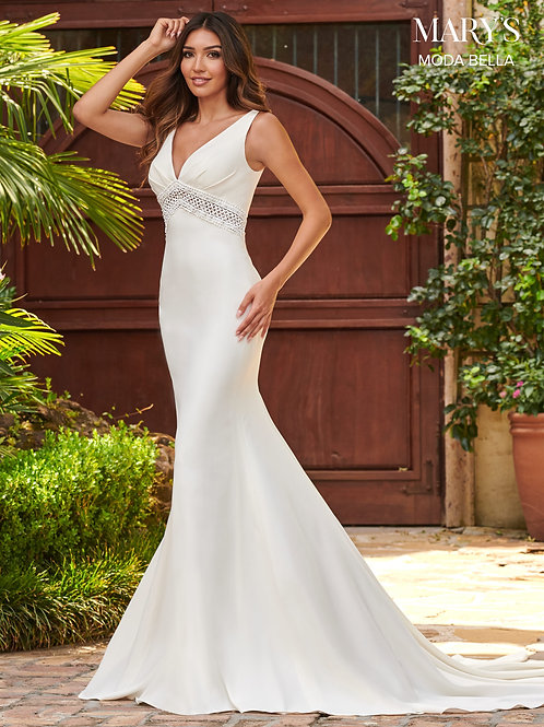 Mary's Moda Bella Crepe Fit and Flare Wedding Dress