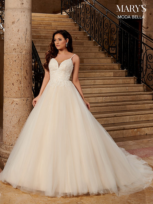 Mary's A-Line Tulle Wedding Gown Embroidered Floral Lace Applique