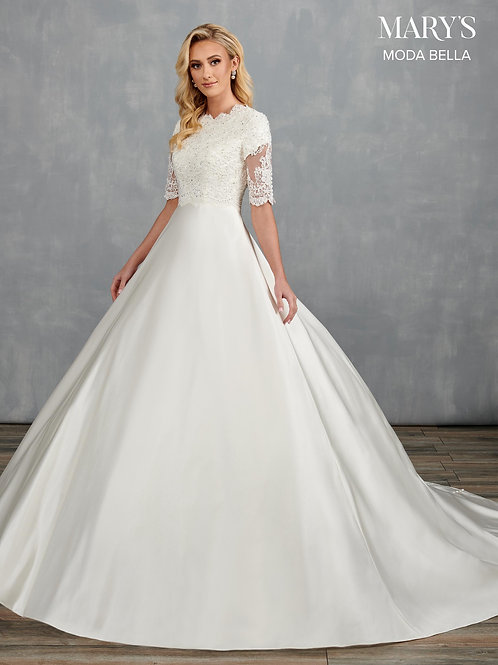 Mary's Modest Satin A-Line Wedding Gown with Sleeves