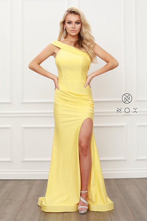 ONE SHOULDER RUCHED MERMAID HIGH SLIT EVENING GOWN