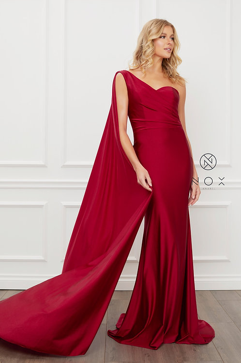 PARTY COCKTAIL ONE SHOULDER DRAPE SLEEVE MERMAID LONG GOWN