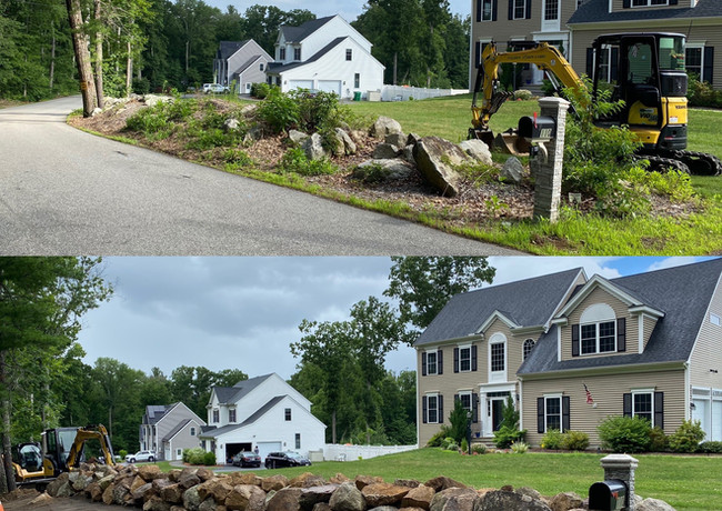 Rock Wall Barrier.  Before & After