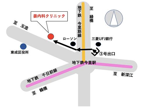 大阪|姜内科クリニック|地図